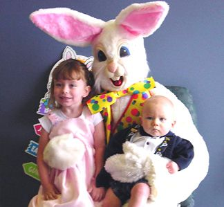 Analycia, Eyan and the Easter Bunny - taken Easter 2003