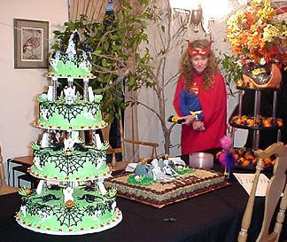 The wedding cake and the grooms cake.