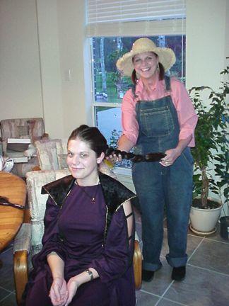 Joanie braiding Amy's hair