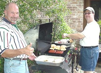 Pat's supervising and Mark's flipping burgers. Whatever works - Food was great!