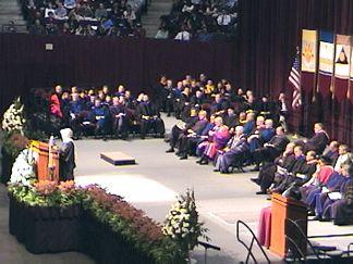 Speeker giving the commencement speech