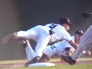 (4 of 4) Ricky Watkins at short makes the play behind 2nd and trys to complete to Patrick Griffin covering the bag