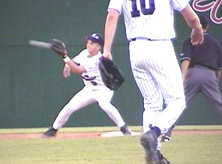 (1of2) Patrick Griffin gets the throw from left and almost gets the runner at 2nd