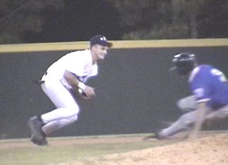 Patrick Griffin gets the runner at 2nd for the out