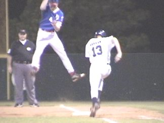 Gerkin safe on the high throw at first