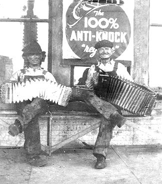Joe Matocha (Joanie's Mom's dad) on the left - playing the squeeze box with Frank Hundl. (Frank worked for Joe at the Blacksmith shop)