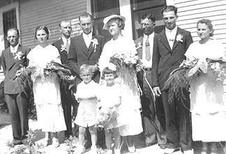 1936 - Mom's sister's wedding. L-R (tall people only) Sleepy Zuzalik, Annie Matocha (later a Tupa), Eddie Zuzalic, Alfred Matocha, Raymond Matocha, Another Zuzalik. The ring bearer is a Zuzalic, the Flower Girl is Veronica Matocha