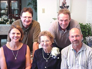 Mom and her kids - Joanie, Mark, Mike and Pat