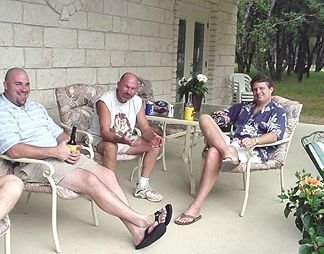 Wade, Pat and Roge on the back porch