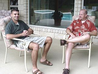Shaun and Kevin on the back porch