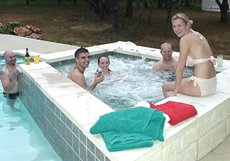 Wade, Shaun,  Kelly, Kevin and Leah in the Pool/HotTub