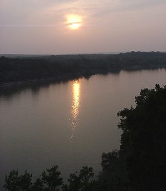 Sunset on Lake Travis. This overlook is just short walk from Pat and Eve's house