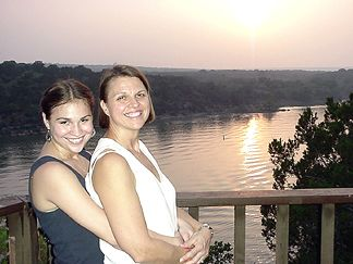 Nicole and Joanie overlooking Lake Travis