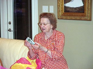 Mom - styling with her new cell phone.