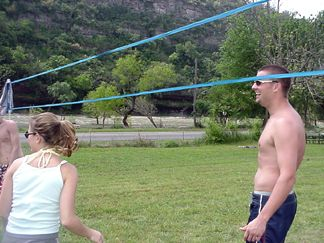 Chad and Tiffany playing volleyball