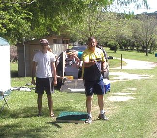 Johnathan tossing washers with Shaun