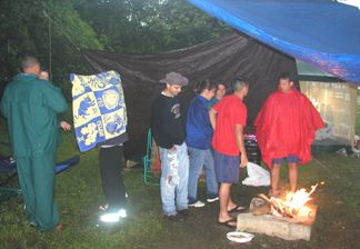 The weather finally hit saturday evening. We have tarps for wind and rain breaks. It really did get cold that night but the fire helped