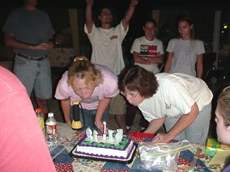 Robin and Alice blowing out the candles