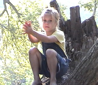 Madison in a tree at Spencers Campground in San Marcos