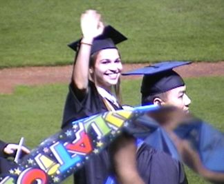 Nicole processing into the stadium