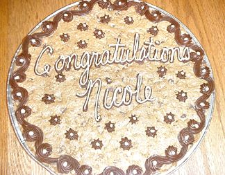 Debbi made one of her fameous chocolate chip cookie cakes
