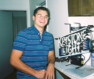 Patrick with his new Neon Keystone Light