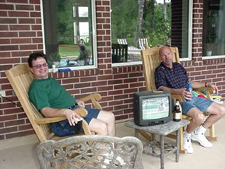 Brother Mark and Brother Pat kicking back watching the Volleyball Game (or maybe the Baseball on TV?)