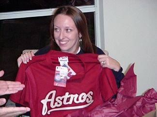 Kelly - Showing off her new Astros Jersey