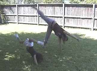 Natalie and Suzannah doing Cartwheels