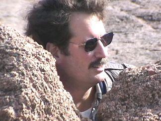 Hank in the rocks
