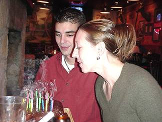 Shaun and Kelly blowing out the candles