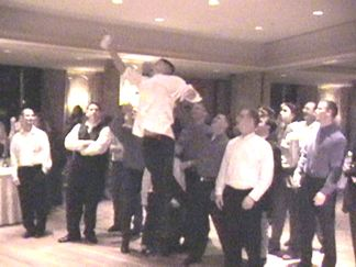 """Air Patrick"" gets the garter - guess thats why they called him the best man!"