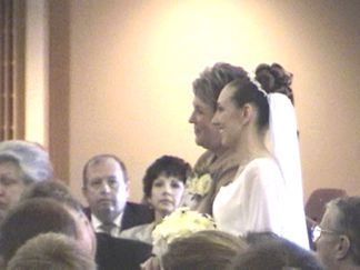 Debi and Kelly going up the aisle