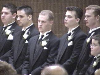 The Groomsmen: Mark Heisler, Dustin Rudisill, Josh Talbet, Mark Hammond, Mark Sweeney, and Ryan Mattingly