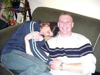 Mike Oliger looking after Natalie who doesn't feel too well