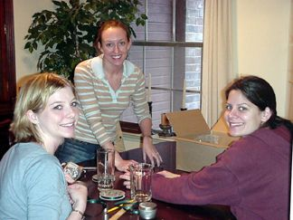 Kelly, Melissa and Jane working on decorations for the Rehearsal Dinner
