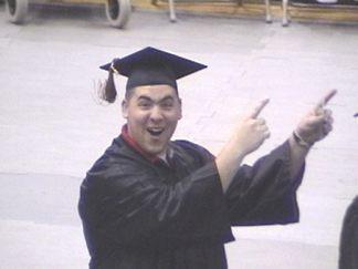 Joe entering the auditorium