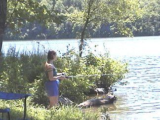 Joanie fishing