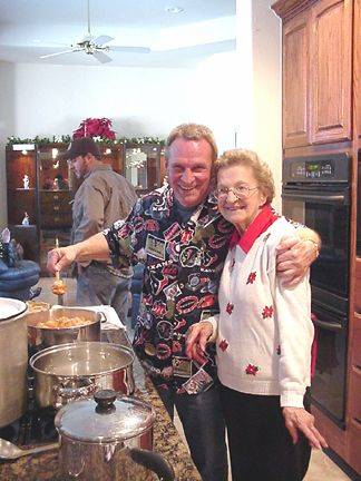 Mike and mom cooking the Shrimp Creole and the home made Chicken Noodle Soup