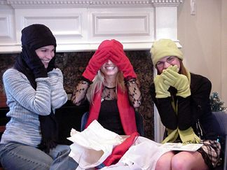 Nicole, Susannah and Natalie modeling their matching gloves and hats