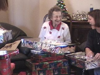 Joanie and Mom - opening gifts