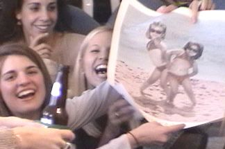 Natalie and Susannah - laughing at the resemblance they have to the girls in the poster
