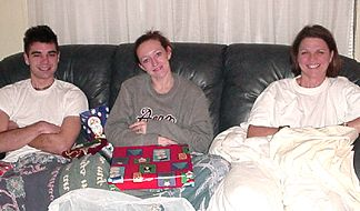 Shaun, Kelly and Joanie - Waiting as Patrick and Nicole pass out the gifts