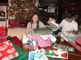 Nicole and Patrick - opening their gifts