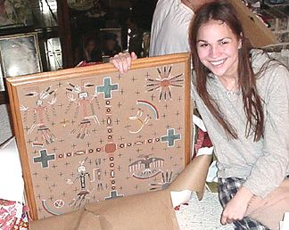 Nicole - with a new piece of art for her apartment